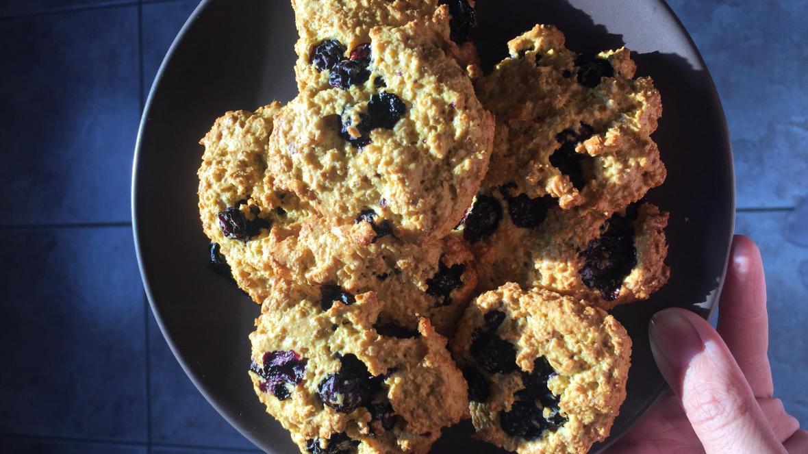 Havermoutkoekjes met blauwe bessen - Havermoutkoekjes met blauwe bessen